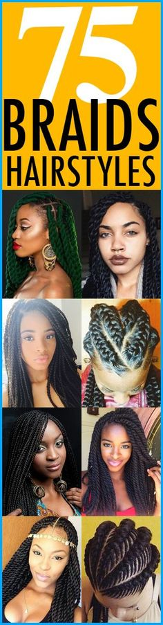 {75 Super Hot Black Braids Hairstyles} ========================== Go To: http://thirstyroots.com/braided-hairstyles.html ==========================  Check out these 75 braided hairstyles for black women. Natural or relaxed, these braids styles for African American women are hot. Everything from crochet braids, box braids, Ghana braids, dreadlocks, classic cornrows, Marley twists, Senegalese twist and regular twists are here. Visit the website and choose your next look.
