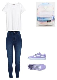 """Back to school outfit"" by gracielazarco on Polyvore featuring River Island, JanSport, Vans and H&M"