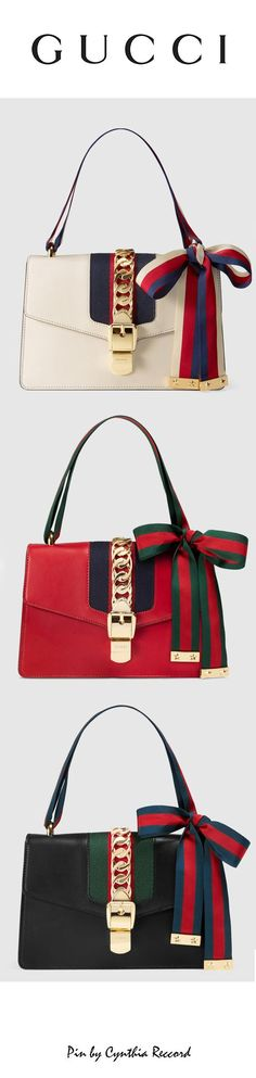 Gucci Sylvie Leather Shoulder Bag with two interchangeable straps SS 2016 Collection cynthia reccord Luxury Bags, Luxury Handbags, Fashion Handbags, Purses And Handbags, Fashion Bags, Designer Handbags, Gucci Designer, Luxury Designer, Guess Handbags