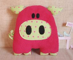 this is so frekin cute!! Pink Pig Stuffed Animal.
