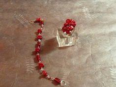PlazaBijoux       realza tu belleza con detalles: Pulsera y anillo coral y cuentas rojas