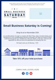 Small Business Saturday Email Template: Once you're ready to start creating and sending emails, Constant Contact has professionally-designed holiday email templates to help you save time and look great in any inbox. Business Hours Sign, Small Business Saturday, Sign Templates, Email Templates, Holiday Emails, Email Marketing Strategy, Email Campaign, Etsy Business, Dinners For Kids