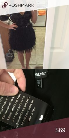 NWT BEBE FEATHER DRESS Such a show stopper! NWT and from a smoke free home. Happy to consider reasonable offers. Low balling will be ignored. Size is a medium and fit my 4/6 frame comfortably. Would be perfect for prom, to use as a performer, or for any special event coming up! Any questions, please ask. bebe Dresses Prom