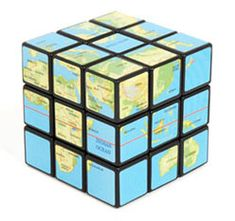 Map rubriks cube... shows the four corners of the earth.