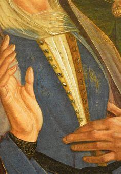 """Francesco Bianchi Ferrari, """"Crocefissione con i santi Girolamo e Francesco"""" (Pala delle Tre Croci), Olio su tavola , cm 267 x 220, Galleria Estense di Modena (Inv. 442); immagine di ANDREA CARLONI - RIMINI. E' molto interessante: mostra gancetti interni con """"controparti femmine"""" (fila a destra) realizzate come semplici anellini ovalizzati, una variante della tipologia classica a forma di """"omega"""", visibile invece nel """"Giullare di corte Gonella"""" dipinto da Fouqet intorno al 1440-45c (KHM…"""