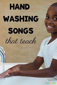 boy washing his hands with text that reads hand washing songs that teach Early Learning Activities, Preschool Activities, Kids Learning, Preschool Teachers, Motor Activities, Songs For Toddlers, Kids Songs, Silly Songs, Songs To Sing