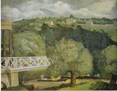 """""""Suspension Bridge, Bath"""" by John Nash, 1927 Cool Landscapes, Painting Photos, Landscape Paintings, Cityscape, 1930s Art, Travel Posters, British Art, English Artists, Landscape Art"""