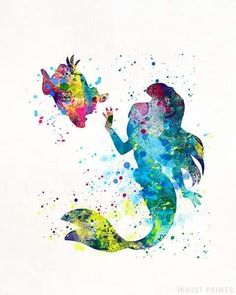 Ariel and Flounder, The Little Mermaid Disney Watercolor Wall Art Poster - Prices from $9.95 - Click Photo for Details - #disney #watercolor #baby #christmasgifts #homedecor #Ariel #TheLittleMermaid