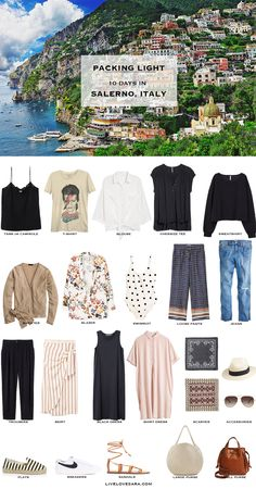 If you are wondering what to pack for Italy in the summer time for 10 days, you can see some ideas here. What to Pack for Italy Packing Light List | What to pack for Salerno l | What to Pack for Amalfi Coast | Packing Light | Packing List | Travel Light | Travel Wardrobe | Travel Capsule | Capsule | #travelpackingchecklist