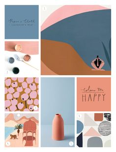 With the addition of those gorgeous earthy tones, this pink and blue palette is the perfect update for 2018. It conjures up desert advent...