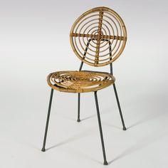 Thonet - Curved Rattan Chair, circa 1960. www.galerieriviera.com