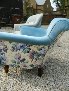 Side view of Velvet Eccentric-designed chair. Mid blue velvet with complementary, tonal piping & then killer vintage Sanderson floral around the rear