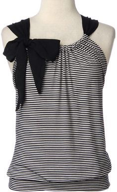 Sleeveless Stripe Front with Bow.  Looks like an easy pattern to draft.  Made something similar as a dress for B.