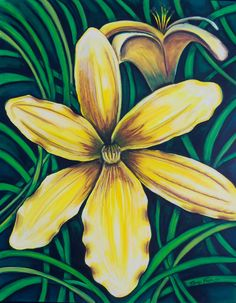 """""""Yellow Lilies"""" Oil Pastel Painting  www.tanyadesigns.net"""