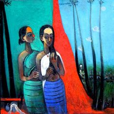 Mother and Daughter by Gajanan Dandekar | Acrylic on Canvas | Size (W x H): 30 x 30 inch