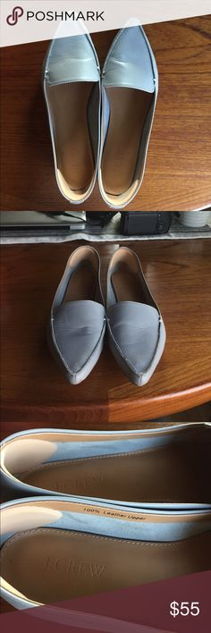 J. Crew leather loafers Pointy toe, slate gray loafer. Worn a few times, extremely cute shoes. Few signs of wear, detailed in closeup photos. Have heel grips in back to keep from flopping off. Clean and ready to roll! J. Crew Shoes Flats & Loafers