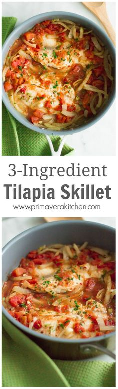 3-ingredient Tilapia Skillet - This Tilapia Skillet with diced tomatoes and onions is a quick, easy, healthy and delicious weeknight dinner. #seafood #tilapia #skilletdinner #primaverakitchen