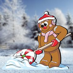 "Gingerbread Shoveler Pattern:  Add this cute character to your gingerbread display this holiday season. 36""H x 43""W.   Pattern #2211  $10.95      ( crafting, crafts, woodcraft, pattern, woodworking, yard art ) Pattern by Sherwood Creations"