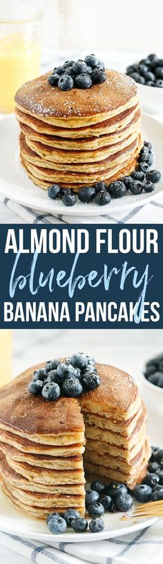 Start your morning with these fluffy blueberry banana pancakes that are grain-free, gluten-free and refined sugar-free and made with almond flour for an easy delicious breakfast! @lovemysilk #ad #silkcreamer