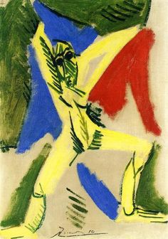 "Nude With Drapery (Study For ""The Great Dancer"") Pablo Picasso Date: 1907 Style: Cubism, Naïve Art (Primitivism) Period: African Period Genre: nude painting (nu) Media: oil, canvas Location: Private Collection"