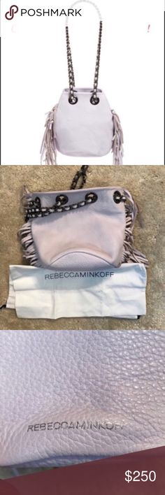 """REBECCA MINKOFF  LILAC BRUNI FRINGE BAG NWT New Authentic Rebecca Minkoff FRINGE BRUNI BUCKET  A bucket bag for the uptown girl. Made of super soft pebbled leather, and trimmed at the seams with fringe. Features stunning gun metal hardware accents and a long chain strap that's threaded through with leather for luxe comfort. 7""""W X 8""""H X .6""""D. 23"""" adjustable chain with woven leather. Genuine leather. 1 interior card pocket. Custom featured gun metal hardware. Exclusive print lining + dust bag…"""