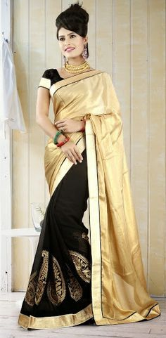 Fancy #Black Colored #Designer Saree