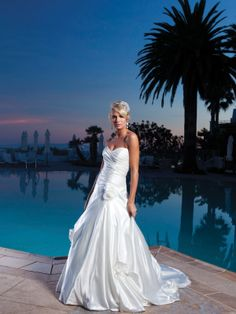 Sweetheart A-line taffeta bridal gown