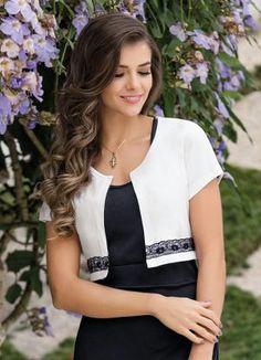 Bolero (Branco) com Detalhe de Renda