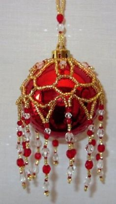Where can I find Free Beaded Ornament Crochet Christmas Ornaments, Christmas Decorations To Make, Holiday Ornaments, Handmade Christmas, Christmas Balls, Beaded Ornament Covers, Beaded Ornaments, Beading Patterns Free, Bead Patterns