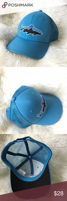 Patagonia Fitz Roy blue trucker trout hat cap Like new. Fitz roy trout logo. Color is pretty accurate- i think its the glass blue one. Adjustable one-size snap back. Patagonia Accessories Hats