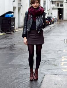8 Ways to Layer Clothes Beautifully- Blog - Indiemode #leather jacket #b;ack skirt #burgundy