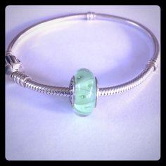 "Pandora ""Green Looking Glass"" Charm Silver PANDORA ""Green Looking Glass"" Charm Pandora Jewelry Bracelets"