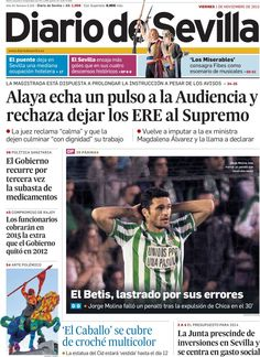 Los Titulares y Portadas de Noticias Destacadas Españolas del 1 de Noviembre de 2013 del Diario de Sevilla ¿Que le pareció esta Portada de este Diario Español?