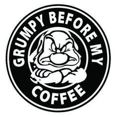 Grumpy Before My Coffee Custom Car Vinyl Decal Sticker x Custom Car Vinyl Decals, Cricut Vinyl, Car Decals, Custom Cars, Grumpy Dwarf, Disney Decals, Cricut Craft Room, Silhouette Cameo Projects, Cricut Creations