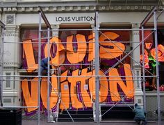 Soho: Louis Vuitton's facade is covered in graffiti in an homage to punk artist Stephan Sprouse