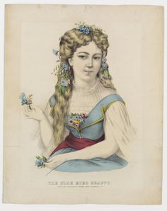 <p>Young girl holding small nosegays, one in each hand. She's dressed in white blouse, blue over dress, red sash, nosegays at breast and in hand.</p>