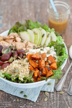 Been eating this all week (Sept 2014) sub simple vinaigrette--Harvest Salad with Citrus Champagne Vinaigrette--pears, grapes, pumpkin seeds, quinoa, roasted sweet potatoes--YUM!