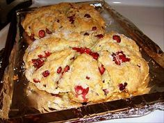 Cranberry Scones from Food.com:   Delicious served warm with lots of butter.  Please read Diana#2's review!!  She has had a wonderful idea for Christmas gifts for friends.  I am so delighted that she choose my Cranberry Scones to make gift bottles. Her instructions are great and the photo is wonderful.   Thanks Diana !!