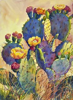 CACTUS DELIGHT_(available as giclee print) by Mary Shepard Watercolor ~ image si. - CACTUS DELIGHT_(available as giclee print) by Mary Shepard Watercolor ~ image size: 29 x 21 unframed - Cactus Drawing, Cactus Painting, Watercolor Cactus, Cactus Art, Watercolor Print, Cactus Decor, Cactus Flower, Cactus Plants, Watercolor Images
