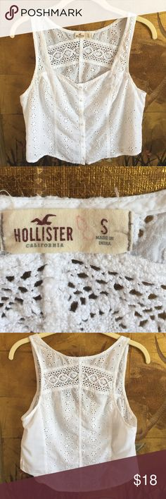 """Hollister White Eyelet Camisole Dainty eyelet camisole with beautiful lace trim on back. Seems to run large for a small. Measures 34"""" around chest. Hollister Tops Camisoles"""