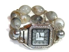 Cloudy Skies Chunky Beaded Watch  Interchangeable by BeadsnTime
