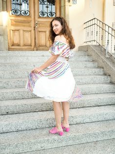 The Perfect Way to Add Pops of Color / Fun Off the shoulder dress/ Loeffler Randall Shoes
