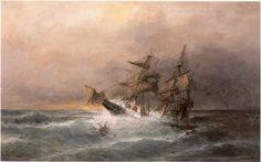 Konstantinos Volanakis - Ship in the Storm Seascape Paintings, Landscape Paintings, Heraklion, Greek Art, Romanticism, Art World, Impressionist, 19th Century, History