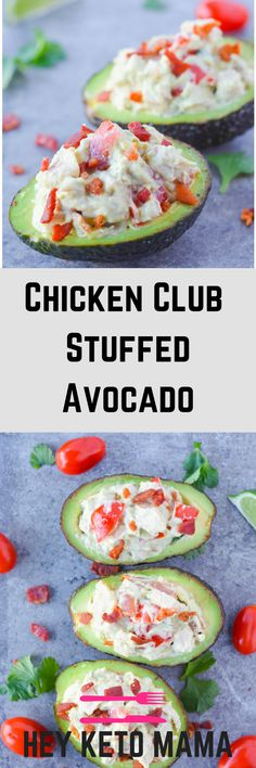 These 5 Minute Chicken Club Stuffed Avocados make for an extremely easy, filling, and refreshing meal! | heyketomama.com