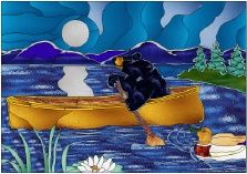 Stained Glass Pattern Moonlight Paddle