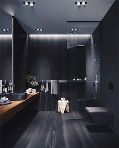 Bathroom goals Tag a friend that would love this modern bathroom design ~~~~~~. Dark Bathrooms, Chic Bathrooms, Amazing Bathrooms, Bathroom Black, Small Bathroom, Bathroom Modern, Turquoise Bathroom, Black Bath, Minimalist Bathroom