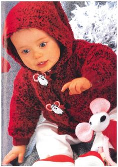 Bebé Niños Chaqueta de Breaster Doble Sombrero Tejer patrón dk 12-20in 14698