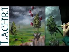 (1) How to paint an easy surreal landscape in acrylics - speed painting w/ Lachri - YouTube