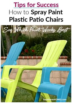 When I painted my plastic outdoor chairs I used two different paints. See which one held up better after one year out in the sun. Painting Moving Decor and Organization Plastic Patio Chairs, Plastic Adirondack Chairs, Outdoor Chairs, Outdoor Decor, Outdoor Living, Painting Plastic Chairs, Spray Paint Plastic, Rustic Patio, Rustic Outdoor