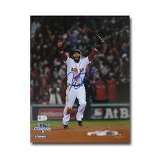 Autographed Dustin Pedroia 2013 World Series Unframed 8x10 last out celebration photo.